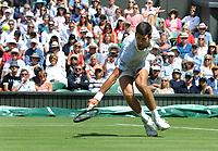 Tennis - 2019 Wimbledon Championships - Week One, Monday (Day One)<br /> <br /> Men's Singles, 1st Round: Novak Djokovic v Philipp Kohlschreiber (GER)<br /> <br /> Novak Djokovic  on Centre Court <br /> <br /> COLORSPORT/ANDREW COWIE