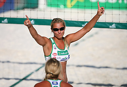 Erika Fabjan (Champion Team) and her sister Simona at qualifications for 14th National Championship of Slovenia in Beach Volleyball and also 4th tournament of series TUSMOBIL LG presented by Nestea, on July 25, 2008, in Kranj, Slovenija. (Photo by Vid Ponikvar / Sportal Images)/ Sportida)