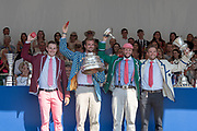 """Henley on Thames, United Kingdom, 8th July 2018, Sunday, View,  """"Fifth day"""", of the annual,  """"Henley Royal Regatta"""", Henley Reach, River Thames, Thames Valley, England, © Peter SPURRIER, Prize Giving, The Visitors' Challenge Cup - 2018<br /> Leander Club"""
