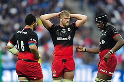 George Kruis of Saracens looks on - Mandatory byline: Patrick Khachfe/JMP - 07966 386802 - 14/05/2016 - RUGBY UNION - Grand Stade de Lyon - Lyon, France - Saracens v Racing 92 - European Rugby Champions Cup Final.