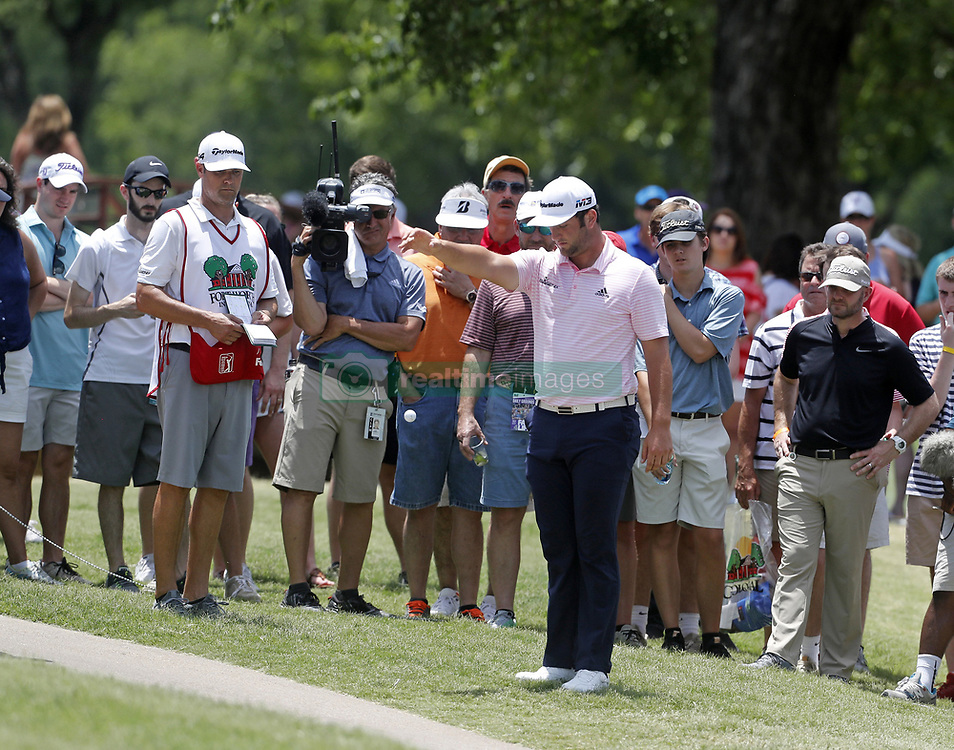 May 26, 2018 - Fort Worth, TX, USA - Jon Rahm drops his ball inbounds after driving his 18th tee shot out-of-bounds during the Fort Worth Invitational Golf Tournament at Colonial Country Club Saturday May 26, 2018 in Fort Worth, Texas. (Credit Image: © Bob Booth/TNS via ZUMA Wire)