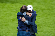 Pete Couhig Wycombe Wanderers Chief Financial Officer and nephew of owner Rob Couhig hugs Wycombe Wanderers Manager Gareth Ainsworth after winning the EFL Sky Bet League 1 Play Off Final match between Oxford United and Wycombe Wanderers at Wembley Stadium, London, England on 13 July 2020.