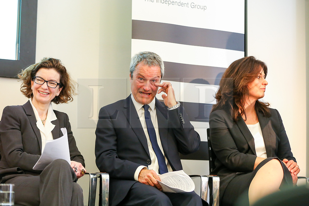 © Licensed to London News Pictures. 30/04/2019. London, UK. Jessica Simor QC (L), Gavin Esler (C) and Heidi Allen (R) at the Change UK's People's Vote Remain rally for the European Elections, in Westminster. Photo credit: Dinendra Haria/LNP