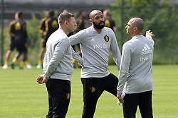 May 23, 2018 - Tubize, Belgique - TUBIZE, BELGIUM - MAY 23 : Graeme Jones ass. coach of Belgian Team, Thierry Henry ass. coach of Belgian Team, Roberto Martinez head coach of Belgian Team pictured during a training session of the Red Devils at the national training center before a friendly game against Portugal on May 23, 2018 in Tubize, Belgium, 23/05/2018 (Credit Image: © Panoramic via ZUMA Press)
