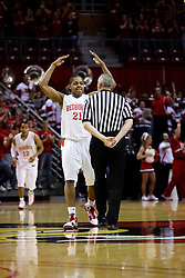 6 February 2010: In front of referee Dave Draucker, Kellen Thonrton raises his arms to bring the crowd to life. The Redbirds of Illinois State pull out a win against the Bulldogs of Drake 71-68 on Doug Collins Court inside Redbird Arena at Normal Illinois.