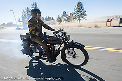 Shinya Kimura riding his Team-80 1915 Indian twin through a small California dust storm during the Motorcycle Cannonball Race of the Century. Stage-15 ride from Palm Desert, CA to Carlsbad, CA. USA. Sunday September 25, 2016. Photography ©2016 Michael Lichter.