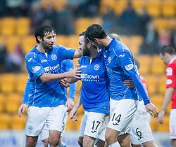 St Johnstone's James McFadden celebrates after scoring their goal.<br /> half time : St Johnstone 1 v 0 Ross County, Scottish Premiership 22/11/2014 at St Johnstone's home ground, McDiarmid Park.