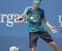 August 22, 2017 - New York, New York, United States - Sergiy Stakhovsky of Ukraine returns ball during qualifying game against Alexey Vatutin of Russia at US Open 2017  (Credit Image: © Lev Radin/Pacific Press via ZUMA Wire)