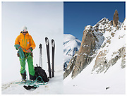 Mountain guide, Jean-michel Kraft packing ropes following hiking the ridge line along the Tour De Don in Morzine   Views of the Aiguille du Midi at 3800m in Chamonix, France.