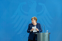 20 MAY 2020, BERLIN/GERMANY:<br /> Angela Merkel, CDU, Budneskanzlerin, nach einem Pressestatement zur vorangegangenen Videokonferenz mit den mit den Vorsitzenden internationaler Wirtschafts- und <br /> Finanzorganisationen, Bundeskanzleramt<br /> IMAGE: 20200520-01-018<br /> KEYWORDS: Pressekonferenz