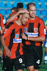 Edin Saranovic (9) of Primorje and Vladimir Ostojic (4) of Primorje  after victory at  6th Round of PrvaLiga Telekom Slovenije between NK Primorje Ajdovscina vs NK Rudar Velenje, on August 24, 2008, in Town stadium in Ajdovscina. Primorje won the match 3:1. (Photo by Vid Ponikvar / Sportal Images)