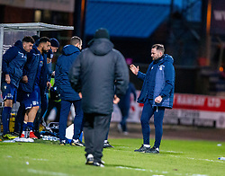 Dundee manager James McPakenat the end. Dundee 2 v 0 Partick Thistle, Scottish Championship game played 8/2/2020 at Dundee stadium Dens Park.