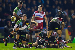 Harlequins Scrum-Half (#9) Karl Dickson passes during the second half of the match - Photo mandatory by-line: Rogan Thomson/JMP - Tel: Mobile: 07966 386802 03/11/2012 - SPORT - RUGBY - Twickenham Stoop - London. Harlequins v Gloucester - Aviva Premiership