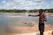 Indigenous occupation of Belo Monte dam construction site. A third of Altamira in the state of Para, Brazil will be flooded to make way for the Belo Monte dam, nearly all the people affected are the poorest in society or indigenous communities that will have nowhere to go if they were made homeless, and the Government payoff for their properties is low therefore making it difficult to find new accomodation. At present, the Arara land is protected from development, sale or new residents as it has been their ancestral land for hundreds of years, this is now one of the key areas under threat