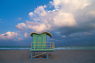 Miami Beach, Florida, Life Guard stand with cloud
