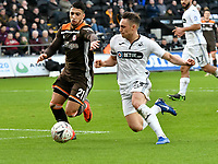 Football - 2018 / 2019 Emirates FA Cup - Fifth Round: Swansea City vs. Brentford<br /> <br /> Said Benrahma of Brentford challenged by Connor Roberts of Swansea City , at Liberty Stadium.<br /> <br /> COLORSPORT/WINSTON BYNORTH