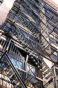 view of fire escapes from below