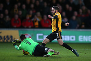 Robbie Willmott of Newport County is denied by Christy Pym , the Exeter city goalkeeper.  EFL Skybet football league two match, Newport county v Exeter City  at Rodney Parade in Newport, South Wales on New Years Day, Monday 1st January 2018.<br /> pic by Andrew Orchard,  Andrew Orchard sports photography.