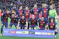 06.01.2013 Barcelona, Spain. La Liga day 18.  Starting FCB team during game between FC Barcelona against RCD Espanyol at Camp Nou