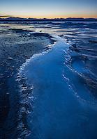 Blue hour frozen landscape of Lake Champlain, Vermont