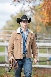 cowboy walking on a ranch