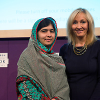 """Malala Yousafzai & J.K. Rowling at Edinburgh International Book Festival 2014 <br /> Malala Yousafzai addresses UK teens as she launches: MALALA: THE GIRL WHO STOOD UP FOR EDUCATION AND CHANGED THE WORLD at the Edinburgh International Book Festival, introduced by J.K. Rowling and chaired by Nelufar Hedayet<br /> <br /> MALALA was introduced to the sellout Scottish schools audience of 600 teens by J.K. Rowling,  who said of the event:<br /> """"Malala is an inspiration to girls and women all over the world. It is a real honour for me to introduce her at the Edinburgh International Book Festival.""""<br /> <br /> Malala said, in closing the event: """"If we want to see the next big change (of every child going to school) we need to become the change ourselves and bring the change.""""<br /> 25th August 2014<br /> <br /> Picture by Alan McCredie/EIBF/Writer Pictures<br /> <br /> WORLD RIGHTS - WORLD EXCLUSIVE"""