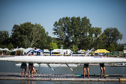 Plovdiv BULGARIA. 2017 FISA. Rowing World U23 Championships. <br /> Tandam rigged Four carried from the pontoon.<br /> Wednesday. AM, general Views, Course, Boat Area<br /> 09:48:54  Wednesday  19.07.17   <br /> <br /> [Mandatory Credit. Peter SPURRIER/Intersport Images].