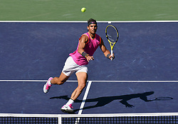 March 15, 2019 - Indian Wells, CA, U.S. - INDIAN WELLS, CA - MARCH 15: Rafael Nadal (ESP) heads for the net in the first set of a quarterfinals match played during the BNP Paribas Open on March 15, 2019 at the Indian Wells Tennis Garden in Indian Wells, CA. (Photo by John Cordes/Icon Sportswire) (Credit Image: © John Cordes/Icon SMI via ZUMA Press)