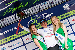 Tadej Pogacar (SLO) of UAE Team Emirates at trophy ceremony after 5th Stage of 26th Tour of Slovenia 2019 cycling race between Trebnje and Novo mesto (167,5 km), on June 23, 2019 in Slovenia. Photo by Matic Klansek Velej / Sportida