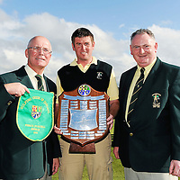16 September 2011; Eugene Quinn, club captain, Eoghan O'Loughlin, team captain, and Jimmy Kelly, club president, Woodstock Golf Club, Co. Clare, with the Pierce Purcell Shield after winning the Final against Corrstown Golf Club, Co. Dublin. Chartis Cups and Shields Finals 2011, Castlerock Golf Club, Co. Derry. Picture credit: Oliver McVeigh/ SPORTSFILE *** NO REPRODUCTION FEE ***
