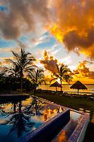 Infinity pool and beach at sunrise, Le Reve Hotel, Riviera Maya, Quintana Roo, Mexico