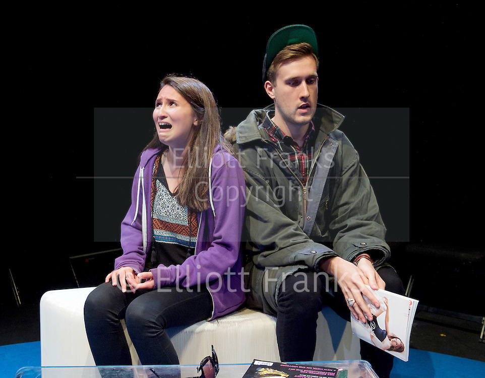 Positive<br /> by Shaun Kitchener <br /> at Park Theatre, Park 90, Finsbury Park, London , Great Britain <br /> 8th July 2015 <br /> press photocall<br /> <br /> directed by Harry Burton <br /> <br /> <br /> <br /> Nathalie Barclay as Nikki <br /> <br /> Ryan J Brown as Olly <br /> <br /> <br /> <br /> <br /> <br /> <br /> Photograph by Elliott Franks <br /> Image licensed to Elliott Franks Photography Services