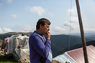 Yilmaz Civelek, 47, at home in Alaca Yaylası, his home village in the Pontic mountains, where communicating via whistling is common, due to the large distances between homes, and the mountainous landscape.
