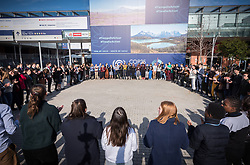 9 December 2019, Madrid, Spain: Fridays for Future create a 'human chain', demanding climate justice and urgent action form politicians at COP25 in Madrid.