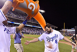 June 6, 2017 - Kansas City, MO, USA - The Kansas City Royals' Mike Moustakas gets the Salvy Splash from Salvador Perez after the team's 9-7 win on a two-run Moustakas home run in the ninth inning against the Houston Astros at Kauffman Stadium in Kansas City, Mo., on Tuesday, June 6, 2017. (Credit Image: © John Sleezer/TNS via ZUMA Wire)