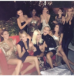 """Naomi Campbell releases a photo on Instagram with the following caption: """"And then we have a laugh \ud83d\ude02\ud83d\ude02 @donatella_versace @gigihadid  @bellahadid @kaiagerber @cindycrawford @natashapoly @ambervalletta @vittoceretti  @anja_rubik \ud83d\ude18\ud83d\ude18\ud83d\ude18\ud83d\udc4a\ud83c\udffe\ud83d\udcf8 @edward_enninful #versacegirls #mfw17"""". Photo Credit: Instagram *** No USA Distribution *** For Editorial Use Only *** Not to be Published in Books or Photo Books ***  Please note: Fees charged by the agency are for the agency's services only, and do not, nor are they intended to, convey to the user any ownership of Copyright or License in the material. The agency does not claim any ownership including but not limited to Copyright or License in the attached material. By publishing this material you expressly agree to indemnify and to hold the agency and its directors, shareholders and employees harmless from any loss, claims, damages, demands, expenses (including legal fees), or any causes of action or allegation against the agency arising out of or connected in any way with publication of the material."""