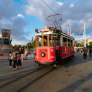 Historic red tram on Taksim Square in Istanbul, Turkey