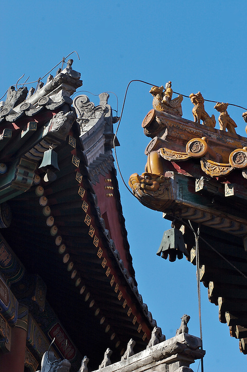 The rooftops of temples illustrate the type of building by the color and the characters that rest on it.  These roofs cover the temple of Yonghegong in northern Beijing, China.