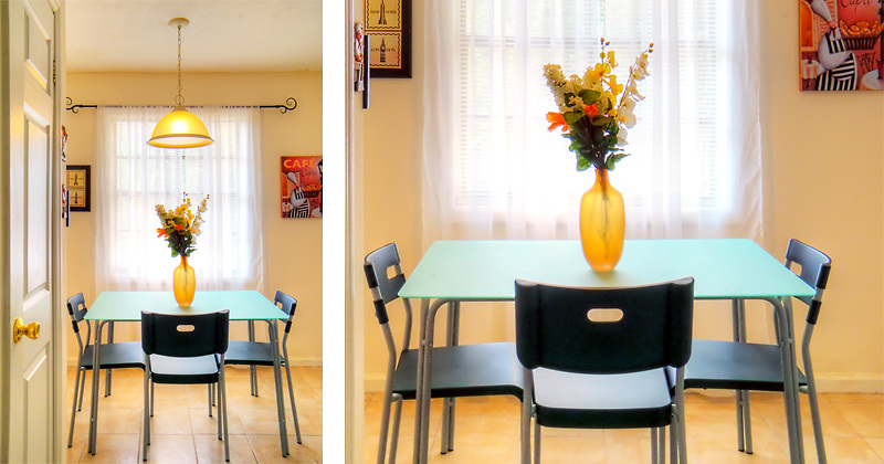 Kitchen table set in a warm and inviting kitchen
