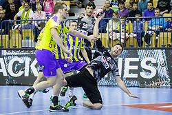 Nemanja Pribak #8 of Besiktas and Povilas Babarskas #7 of RK Celje Pivovarna Lasko during handball match between RK Celje Pivovarna Lasko (SLO) and Besiktas J.K. (TUR)  in 14th Round of EHF Men's Champions League 2015/16, on March 5, 2016 in Arena Zlatorog, Celje, Slovenia. (Photo by Ziga Zupan / Sportida)
