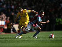 Photo: Rich Eaton.<br /> <br /> Aston Villa v Liverpool. The Barclays Premiership. 18/03/2007. Gabriel Agbonlahor right of Villa , evades Liverpools Fabio Aurelio