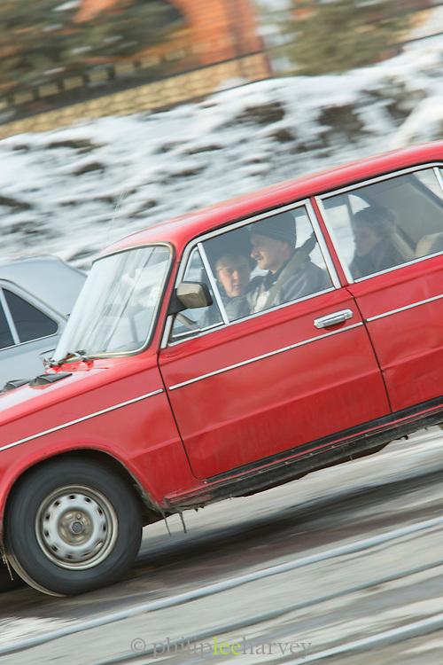 Family driving in Komsomolsk-na-Amure.Siberia, Russia