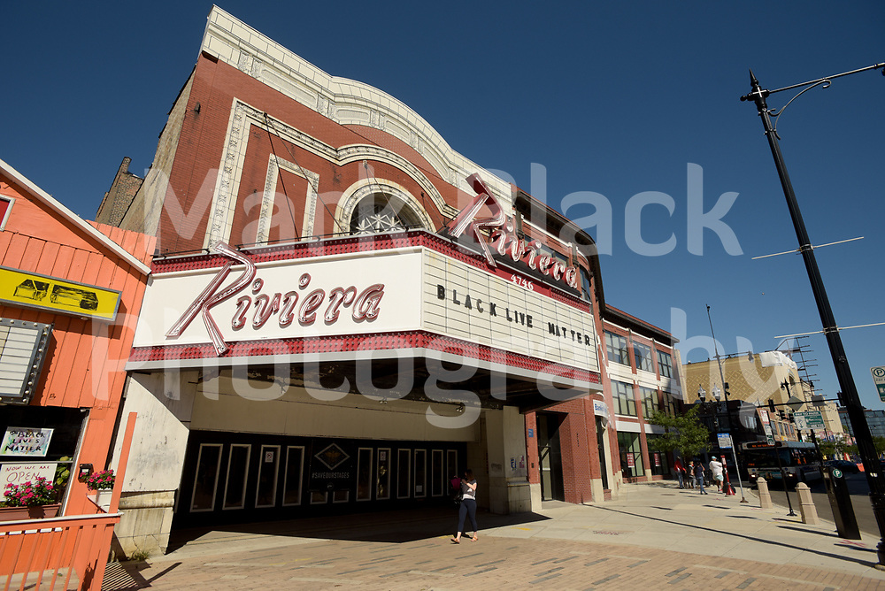 """The historic Riviera Theater, """"Riv"""" in Chicago on Friday, Sept. 4, 2020. Photo by Mark Black"""