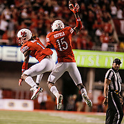 OCT 10 2015 - Berkeley U.S. CA - Utah DB # 1 Bobby Hobbs and DB # 15 Dominique Hartfield celebrate his mid fourth quarter interception. Late in the fourth quarter DB # 1 Bobby Hobbs break up a Jared Goff pass to seal the win for the Utes during the NCAA Football game between Utah Utes and the California Golden Bears at Rice-Eccles Stadium Salt Lake City, Utah. Thurman James / CSM