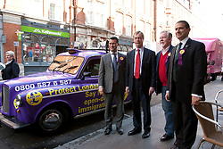 © licensed to London News Pictures. London, UK 12/04/2012. Steven Woolfe, Nigel Farage, Richard Bridgeman and UKIP Mayoral candidate Lawrence Webb arrive at Porters English Restaurant for the launch of London Mayoral election campaign of his party. UKIP announced Lawrence Webb as their Mayoral candidate and the campaign is backed by long term Tory supporter Peter Stringfellow. Photo credit: Tolga Akmen/LNP