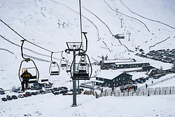 View of Glenshee Ski Centre in Cairngorm Mountains in Scotland, United Kingdom