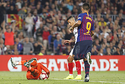 October 20, 2018 - Barcelona, Catalonia, Spain - FC Barcelona forward Luis Suarez (9) and Sevilla FC goalkeeper Tomas Vaclik (1) during the match FC Barcelona against Sevilla FC, for the round 9 of the Liga Santander, played at Camp Nou  on 20th October 2018 in Barcelona, Spain. (Credit Image: © Mikel Trigueros/NurPhoto via ZUMA Press)