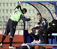 Fotball<br /> Landslaget Norge<br /> 12.10.07<br /> Før Bosnia - Norge EM kvalifisering<br /> Bislett Stadion<br /> Azar Karadas forlater treningen med bandasjert hånd etter å ha brukket en finger - Her sitter han mens Thorstein Helstad prøver å muntre opp - Til høyre mediesjef Jon Mørland<br /> Foto - Kasper Wikestad