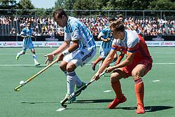 (L-R) Juan Gilardi of Argentina, Thijs van Dam of The Netherlands during the Champions Trophy finale between the Netherlands and Argentina on the fields of BH&BC Breda on Juli 1, 2018 in Breda, the Netherlands.