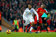 Jason Denayer of Sunderland makes a break. Premier League match, Liverpool v Sunderland at the Anfield stadium in Liverpool, Merseyside on Saturday 26th November 2016.<br /> pic by Chris Stading, Andrew Orchard sports photography.